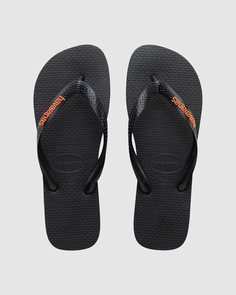 HAVAIANAS RUBBER LOGO BLACK/ORANGE NEON THONG
