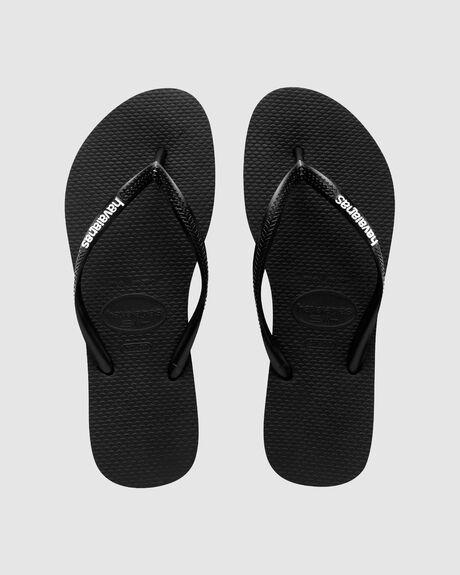 SLIM RUBBER LOGO BLACK/WHITE THONG
