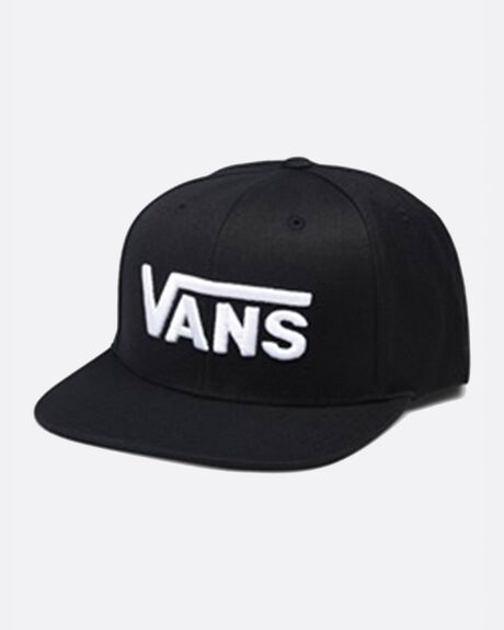 Drop V Snapback Hat Black White