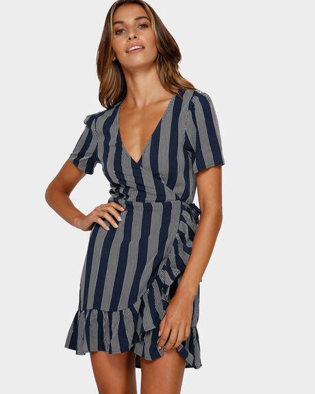 BLUE MOON STRIPE WRAP DRESS