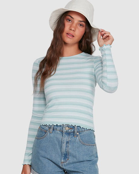 WOMENS RIBBED STRIPE TEE