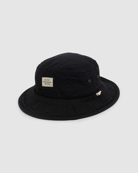WAXED WIDE BRIM BUCKET HAT