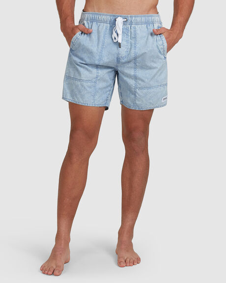 BAYWATCH ACIDS - ELASTIC WAIST BOARDSHORT - BLUE ACID WASH